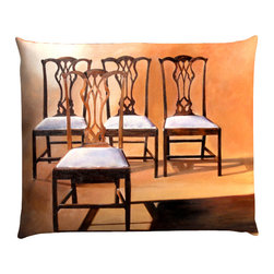 """Denise H. Cooperman - 'Take A Seat' Luxurious Belgium Linen Pillow - Take A Seat Luxurious Belgium Linen Pillow.  Museum quality Nano print on Imported Belgium Linen. Fully inner lined with a down combo fill and zipper.  Dry Clean only. Truly elegant pillow with an image from the original acrylic painting """"Take A Seat"""". Each pillow is custom made to order.  Typically there is one in stock but allow 4-6 weeks production if stock item is sold."""