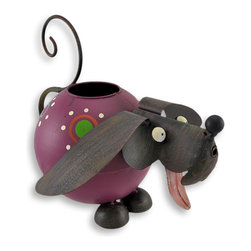 Zeckos - Whimsical Hand Painted Folk Art Dog Watering Can - Perk up your plants and your day using this whimsical watering can Take this playful puppy to the sink and 'fill 'er up' through the large opening in the top, then watch the magical waterfall pouring out of the cleverly placed spout With big round eyes, floppy ears and a cute curly tailed handle, this is one watering can you'll want on display at all times It is crafted of metal and hand painted with weathered appeal. It measures 8 1/4 inches tall, 9 inches long and 10 inches wide, and makes an excellent gift for a gardener