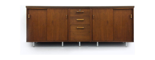 Design craft - Danish Side Board Just Listed - Mid-century Modern furniture - Great mid-century Sideboard with a modern and industrial look, with two sliding doors and three drawers. comes with the original hardware in great vintage condition. Great is an office or a living room.