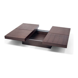 Temahome - Temahome Kyoto 4 Tops Coffee Table, Chocolate, Opening - A four-squared coffee table with low profile and optional storage