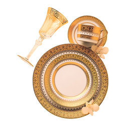 IMPERIAL COURT, INC. - Imperial Gold Rim Soup Plate - Fine porcelain produced with a very rich looking tri-dimensional 24K Gold raised incrusted border. Please inquire for available five place settings and serving items.