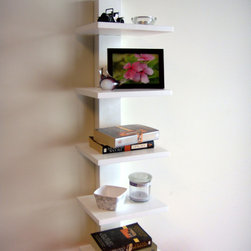 Proman - Spine Wall White Book Shelves - Display your cherished photographs and organize your books in this modern white book shelf. Perfect for smaller spaces,the simple-line design displays five wall-mounted shelves to save floor space and it's made from wood for added durability.