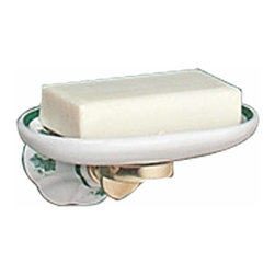 "Renovators Supply - Soap Dishes White/Green Porcelain Ivy Soap Dish | 18309 - Crafted of fine white porcelain with Renovators Supply finished (RSF) tarnish free brass trim- this wall-mounted soap dish has a beautiful ribbed pattern and a lovely green ivy design for a touch of the outdoors. It projects 1 3/4"" from the wall. 2.88in D x 3.75in."