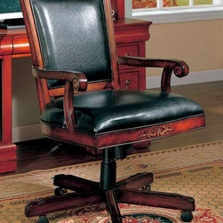 Coaster - Traditional Office Task Chair - Black faux leather upholstery. Medium back. Wood scroll arms. Carved accents. Adjustable height gas lift. Five casters below wooden base for easy mobility. Wooden frame. Pneumatic seat height adjustment. 31 in. W x 25.5 in. D x 41 in. - 44 in. H. WarrantyThis beautiful office task chair will add both style and comfort to your home office. Create a warm and stylish home office with this gorgeous traditional office task chair.