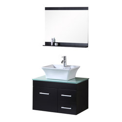 "Design Elements - Design Elements DEC1100A-30 Vanity in Espresso - The Madrid 30"" vanity set is elegantly constructed of solid hardwood. The natural aqua color of the tempered glass countertop brings a clean and contemporary look to any bathroom. Seated at the base of the ceramic vessel sink is a chrome finish pop-up drain, designed for easy one-touch draining. A full size mirror with matching espresso accent shelving is included. Built into the vanity are two drawers and a soft-closing cabinet door. The Madrid Bathroom Vanity is designed as a centerpiece to awe and inspire the eye without sacrificing quality, functionality, or durability."