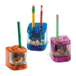 Two-Hole Pencil Sharpeners - Battery operated and easy to store, these pencil sharpeners make sharpening pencils easy. They would make a nice addition to personalized pencils.