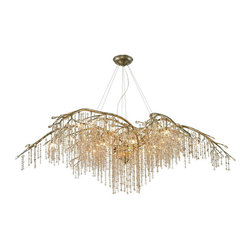 Golden Lighting - Golden Lighting 9903-24 MG 2 Tier Chandelier - Organic branches are sculpted from steel and combined with crystal to create a forest canopy