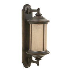 Exteriors - Exteriors Arden Transitional Outdoor Wall Sconce - Small X-88-0056Z - The small size of the Craftmade Arden Transitional Outdoor Wall Sconce is just a big a design statement as the medium and large sizes. These petite outdoor wall light fixtures pack a big design punch with their transitional style, oil rubbed bronze gilded finish and tea-stained glass shades. Certain to make any entrance a stylish statement.