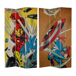 Oriental Furniture - 7 ft. Tall Double Sided Captain America/Iron Man Canvas Room Divider - Iron Man and Captain America, two iconic Marvel superheroes, on a limited edition, extra tall furniture grade room divider. These original graphic art renderings convey a unique decorative statement perfect for modern eclectic home decor as well as creative work environments.