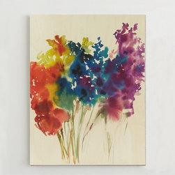 Floral Watercolor and Birch Wall Art - I have a thing for watercolor flowers, and I am so in love with this gorgeous art piece!