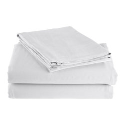 300 Thread Count King Sheet Set Bamboo Solid - White - As soft as silk and as durable as cotton, these bamboo derived sheets are at the meeting point of style, comfort and durability. Made from 100% Bamboo derived Rayon, this set of sheets allows your body to breathe in the summer while keeping you warm in the winter. Set includes One Flat Sheet 111x105, One Fitted Sheet 80x82, and Two Pillowcases 21x42 each.