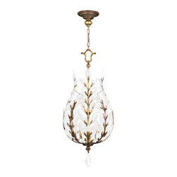 Fine Art Lamps - Crystal Laurel Gold Lantern, 776540ST - Let your elegance and good taste reign. The shining metal finish and sparkling crystal leaves of this lantern are a crowning achievement for your room. At 18 inches wide and about 43 inches high, it holds three bulbs — perfectly scaled for you to make your grand entrance.