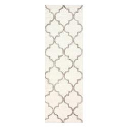 nuLOOM - nuLOOM Handmade Moroccan Trellis Faux Silk Wool Rug , Nickel, (2.6' X 8') - Material: 75% Wool, 25% Viscose