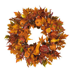Nearly Natural - 28in. Harvest Wreath - What a better way to decorate your home for fall than with our festive Pumpkin Wreath? Breathtaking autumn colors encircle a foundation of harvest pumpkins, brilliant gourds, and berry sprigs of russet and gold. Leaves in every stage of change balance the wreath and create a lovely decoration suitable for hanging anywhere a bit of fall splendor is desired.
