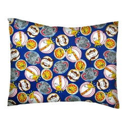 SheetWorld - SheetWorld Twin Pillow Case - Flannel Pillow Case - Safari Animal Circles - Twin pillow shams. Made of an all cotton flannel fabric. Side opening. Features the cutest safari animal circles.