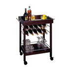 Winsome Wood - Winsome Wood Bar Cart w/ Mirror Top & Wine Rack - This wheeled wine cart holds everything necessary for a portable bar. It can store ten bottles of wine in its upper racks, and also has a lower shelf to hold more bottles and glasses. The top shelf is perfect for resting full glasses and plates of appetizers. Bar Cart (1)