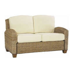 HomeStyles - Loveseat in Honey Finish - * Ecru colored cushions. Provides comfortable seating in a casual style. Clear coat finish helping to protect against wear and tear from normal use. Hand woven of natural banana leaves with no harmful additives. Cotton twill cushion covers. Made from 100% sustainable and eco friendly mahogany hardwood. Made in Indonesia. 53.75 in. W x 36 in. D x 31.75 in. H. Assembly Instruction
