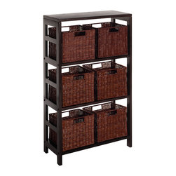 Winsomewood - Leo 7pc Shelf And Baskets; One Shelf, 6 Small Baskets; 3 Cartons - Three sections wide Shelf and 6 Small Storage Baskets. Elegance yet functional. Mix and match with the other Espresso Storage Shelves, both narrow and wide. (92425+92310x2) Total of 3 boxes Carton size of Shelf =>