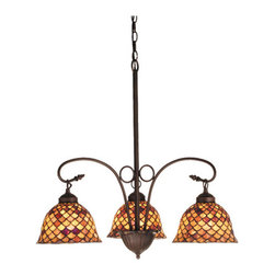 """Meyda Tiffany - 24""""W Tiffany Fishscale 3 Lt Chandelier - A Louis Comfort Tiffany studio classic fish scale pattern reproduced in variegated Tortoiseshell of Ambers and Burgundy. This handsome stained glass shade is used with Mahogany Bronze hand finished hardware. A versatile three light chandelier that will complementary color or style."""