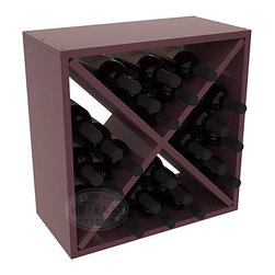 "Wine Racks America - 24 Bottle Wine Storage Cube in Ponderosa Pine, Burgundy Stain + Satin Finish - A wine rack focused on flexibility; buy 1 or buy 100. Perfect for stacking, filling small spaces, and converting that ""underneath"" space into wine storage. Mix and match finishes to illustrate your true wine-lover's spirit or contrast colors for a modern wine rack twist."