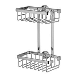 nie wieder bohren - Germany - Shower Caddies- no drilling required! - no drilling required ALUXX Double Shower Caddy 7in.W x 4-3/16in.D x 10-1/4in.H.  All aluminum construction and lifetime rustproof performance. Part number AL230-CHR