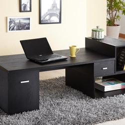 Modular TV Console/Office Desk - This Modular Console/Office Desk features a rectangular table top panel connecting solidly with 1-small drawer and 1-cabinet, two stackable display blocks. TV console can accommodate TV up to 45 inches.