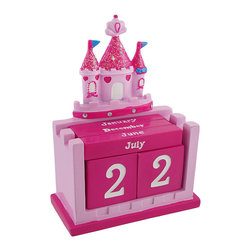 Pink Princess Castle Perpetual Calendar Set - This perpetual calendar adds an adorable accent to your little girl`s room, year after year. It features a pink princess castle with glitter and rhinestone accents, number blocks for the date, and bars to display the month. Made of cold cast resin, it measures 6 inches tall, 4 1/2 inches long, and 2 1/8 inches wide.
