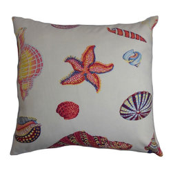 "The Pillow Collection - Rayen Coastal Pillow White Pink - Adorn your living space with this inviting decor pillow. This accent pillow features a beach-theme design with multicolored sea creatures printed on a white fabric. This eye-catching throw pillow is fun and easy to incorporate with other patterns. Made of 100% soft and durable cotton material, this 18"" pillow provides comfort and texture. Hidden zipper closure for easy cover removal.  Knife edge finish on all four sides.  Reversible pillow with the same fabric on the back side.  Spot cleaning suggested."