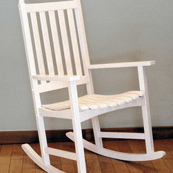 Achla - Porter Indoor Rocking Chair in Daisy White - Our customers' favorite rocking chair is now available in Daisy White.  It's just as well these chairs come in pairs, because they will quickly establish themselves as family favorites.  The sturdy Eucalyptus construction means these chairs will last for years.  Get carried away in a divine glass of Sancerre and your impeccably comfortable Porter Indoor White Rocking Chair.  Scrupulously crafted and simply designed to bring the richness of unparalleled luxury to your favorite space. * Made from Eucalyptus Grandis wood. 27 in. W x 31 in. D x 44 in. H