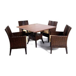 Boca Rattan - Grand Cayman 5 Pc Rattan Dining Set in Golden Walnut (971) - Fabric: 971. Set includes 4 arm chairs and dining table. Cushions included. Constructed from strong and durable rattan. Arm chair: 24.5 in. W x 24.5 in. D x 36 in. H (50 lbs.). Dining table: 48 in. L x 48 in. W x 31 in. H (200 lbs.)
