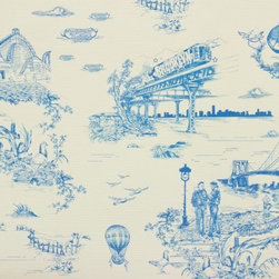 Brooklyn Toile Wallpaper, Porcelain Blue - The company Flavor Paper produces wallpapers right in Brooklyn. They also do custom creations for local restaurants and businesses, including the Wythe Hotel and a famous design for Mike Diamond of the Beastie Boys. Diamond wanted his Brooklyn home to have a Brooklyn-inspired paper to line his walls, and the result was this classically cool toile that features elements and vignettes of Brooklyn. I'll take the blue colorway, please.