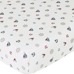 Sweet Jojo Designs - Nautical Nights Print Crib & Toddler Sheet - The Nautical Nights fitted crib sheet will help complete the look of your Sweet Jojo Designs nursery. This nautical print cotton sheet fits all standard crib and toddler mattresses and is machine washable for easy care.