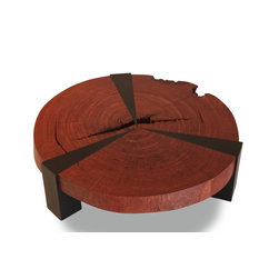 Bubinga Bolacha Star Coffee Table - Round cocktail table made with a solid crosscut of bubinga wood.