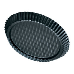 "Frieling - Flan/Tart Pan, 11"", Nonstick - Non-stick collar for perfect release. Zenker pans are constructed of steel for great heat conduction. Enamel coated inside and out is applied under 1832-degrees Fahrenheit. This high temperature makes the surface extremely resistant to high temperature baking and cut resistant. Dishwasher safe and easy to clean."