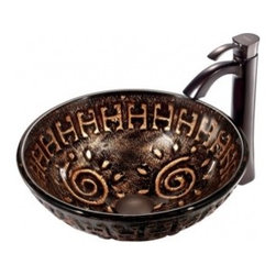 Mediterranean Bathroom - Vigo VGT194 Bathroom Vessel Sink and Faucet Combo, Aztec in Mosaic Browns: Oil Rubbed Bronze