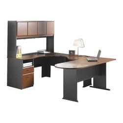 BBF - Bush Series A 4-Piece Wood Corner Computer Desk in Hansen Cherry - Bush - Computer Desks - WC94428PKG1