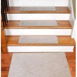 """Dean Flooring Company - Dean Serged DIY 27"""" x 9"""" Imperial Carpet Stair Treads  (13), Light Taupe, Set of - Dean Serged DIY 27"""" x 9"""" Imperial Carpet Stair Treads (13) with Landing Mat - Color: Light Taupe : Imperial Carpet Stair Treads with Landing Mat by Dean Flooring Company Color: Light Taupe Color Matching Finished (Serged with Yarn) Edges with Rounded Corners. Set includes 13 pieces plus a matching 2'x3' landing mat. Each tread measures approximately 27"""" x 9"""". Also easy to spot clean and vacuum. Helps prevent slips on your hardwood stairs. Great for helping your dog easily navigate your slippery staircase. Reduces noise. Reduces wear and tear on your hardwood stairs. Attractive: adds a fresh new look to your staircase. Easy DIY installation with double sided carpet tape (included). Made from attractive, comfortable cut pile residential carpeting. Matches our peel and stick carpet tiles. Made in the USA! Add a touch of warmth and style to your home today with stair treads from Dean Flooring Company!"""