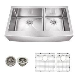 Schon - Schon 16 Gauge 35.87 x 20.75 Apron 60/40 Sink - SCAPL604016 16 Gauge Schon Undermount Sink Stainless Steel Apron Front Double Bowl 60/40 35 7/8 x 20 3/4, Grids, Strainers