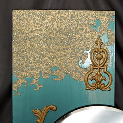 Turqouise Mirror - Size: 11 ¾L x 28H inches