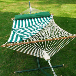 Algoma 13' Cotton Rope Hammock w/ Hanging Hardware, Pad and Pillow - Comfort and style are combined with this cotton rope hammock, pad, and pillow combination. Use either indoors or outdoors. Either place, you'll enjoy the look, feel, and comfort of this hammock and pillow combination.