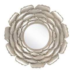 "Surya - Surya Esplanade Champagne Mirror - The Surya Esplanade mirror's floral design exudes bold glamour. With a champagne finish, metal posy petals form a dazzling arrangement around a glass center. 32""W x 32""H. 9.79 lbs.Made from metal . Includes D rings for hanging."