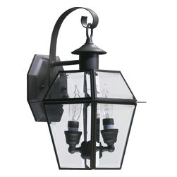 Quorum Lighting - Quorum Lighting Duvall Transitional Outdoor Wall Sconce X-63-2-927 - This Quorum Lighting outdoor wall sconce features a classic four sided lantern design that will compliment a variety of outdoor settings. From the Duvall Collection, it features a dark Bronze finish that accentuates the clean design. For added appeal, candelabra style lights and clear glass panels complete the look.