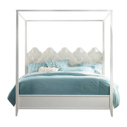 Hooker Furniture - Melange Quatrefoil Poster Bed - Queen - White glove, in-home delivery included!  Furniture assembly included!  Pretty and eclectic with a touch of whimsy, the Quatrefoil Canopy Bed combines an upholstered quatrefoil fretwork headboard with a brilliant bright white finish on the canopy, sides and footboard.