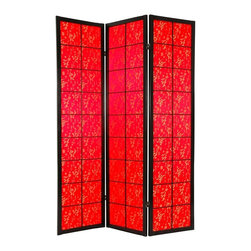 Oriental Unlimted - Feng Shui Multi Panel Privacy Screen w Red Sa - Enrich your space with the introduction of this exquisitely designed Shoji Feng Shui privacy screen. Golden calligraphy against red satin panels creates a stunning backdrop that can be used as an art screen, wall accent or room divider. Opaque fabric allows privacy while lending visual interest to your space. Multiple panels held by two-way hinges can be positioned as required. Screens may vary slightly in color. One of our two beautiful Feng Shui room dividers, this one with red fabric and gold calligraphy print, for good fortune. The fine satin fabric is opaque, so very little light comes through, providing complete privacy. Display as an art screen, or use to define space and provide privacy. Crafted from durable, lightweight Scandinavian Spruce, using Asian style mortise & tenon joinery. Lacquered brass, two- way hinges mean you can bend the panels in either direction. Each panel measures approx. 72 in. H x 17 1/2 in. W x 3/4 in. D. 3 panel screen measures approx. 53 in. W flat, approx. 45 in. W with panels folded to stand upright (as shown)