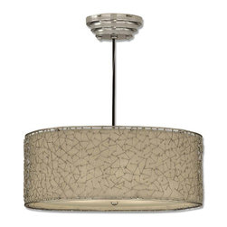 Uttermost - Brandon Silver 3-Light Drum Pendant - Bring the constellations indoors with this heavenly hanging lamp. The contemporary champagne drum shade is adorned with nickel-plated dots and lines that form abstract geometric shapes. Connect the dots and see what constellations you find while you light up your room in style.