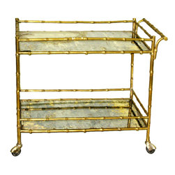 Faux Bamboo Drinks Cart by Bagues - Wonderful vintage and antique bar carts can still be found. This French, circa 1940s, solid bronze faux bamboo bar cart has mercury distressed mirrored shelves. A vintage piece adds instant glamour and character to any room.