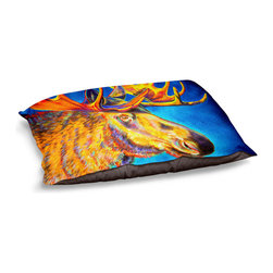 """DiaNoche Designs - Dog Pet Bed Fleece - Moose Blues - DiaNoche Designs works with artists from around the world to bring unique, designer products to decorate all aspects of your home.  Our artistic Pet Beds will be the talk of every guest to visit your home!  BARK! BARK! BARK!  MEOW...  Meow...  Reallly means, """"Hey everybody!  Look at my cool bed!""""  Our Pet Beds are topped with a snuggly fuzzy coral fleece and a durable underside material.  Machine Wash upon arrival for maximum softness.  MADE IN THE USA."""