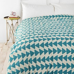 Magical Thinking Triangle Chain Duvet Cover, Blue - A bedspread that looks like a modern garland will have you ready to party all night long.