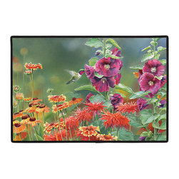 405-Hummingbird Doormat - 100% Polyester face, permanently dye printed & fade resistant, nonskid rubber backing, durable polypropylene web trim. Use on the porch or near your back entrance to the house. Indoor and outdoor compatible rugs that stand up to heavy use and weather effects