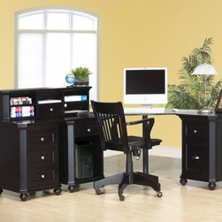 Ventura Corner Desk with Hutch & Storage - The Home Elegance Ventura Large Corner Desk offers the space and storage you need to keep your home office organized and productive. The corner design maximizes space in your room so you can pack in the amenities. In addition to the expansive desktop this desk includes three cabinets to address your home office needs. One cabinet contains a convenient file drawer while another features an open space with a cord management opening to protect your CPU. The third cabinet provides more storage drawers to keep your office supplies organized and close at hand. Tuck your monitor into the corner of the desktop and enjoy the expanse of workspace greeting you on either side. Finally the included hutch offers five open storage space and one drawer for things you prefer stay hidden. Constructed of hardwood solids and veneers this high-quality desk is incredibly durable and will stand up to the test of time. Attractive turned feet clipped corners and brushed nickel hardware complete the contemporary look of this sleek black desk.CPU cabinet: 21L x 22W x 29.5H inches2-drawer cabinet: 21L x 22W x 29.5H inches3-drawer cabinet: 21L x 22W x 29.5H inchesCorner section: 40L x 40W x 29.5H inchesSingle-length cabinet top: 23L x 23W x 0.75H inchesDouble-length cabinet top: 46L x 23W x 0.75H inches